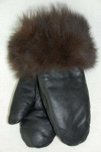 Mitaines cuir fourrure - femmes / Leather and fur mittens - women
