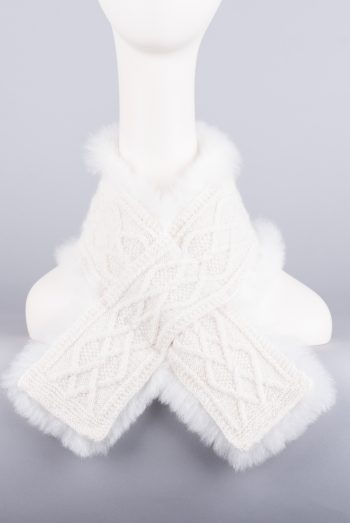 foulard croisé court tricot-fourrure / fur-trimmed short crossed scarf