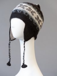 tuque andine double, à motifs / double Andean hat, with patterns