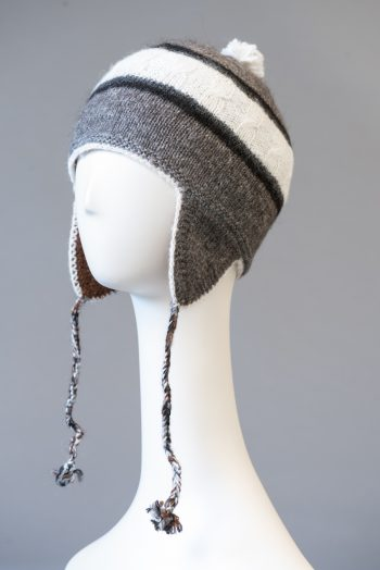tuque andine double, rayée / double Andean hat, striped