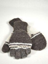 gants à rabat double épaisseur 100% alpaga tricot à la main couleurs naturelles gris rayé
