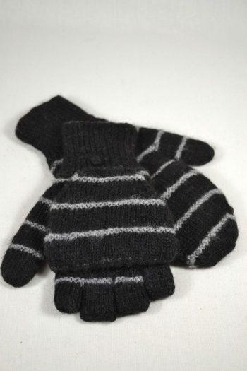 gants à rabat double épaisseur 100% alpaga tricot à la main couleurs naturelles noir gris rayé