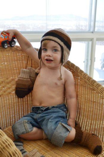 accessoires enfants 100% alpaga tricot à la main couleurs naturelles variées
