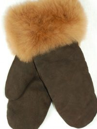 Mitaines cuir fourrure - femmes, suède / Leather and fur mittens - women, suede